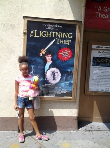 Outside of the theater with her bear Mia, after the show.